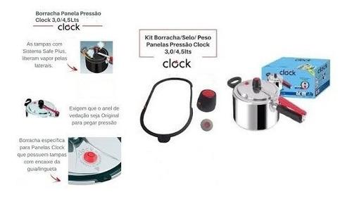3 borracha panela pressao clock nova c/ guia 4,5lts + brinde
