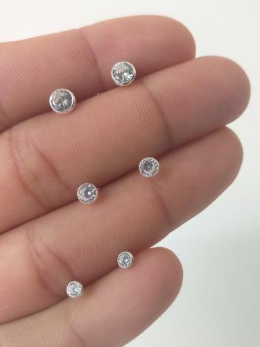 3 brinco trio feminino zirconias cravação inglesa prata 925