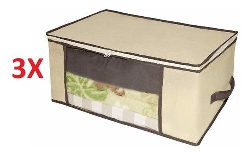 3 caixa organizadora guarda roupa edredom cobertor dobravel