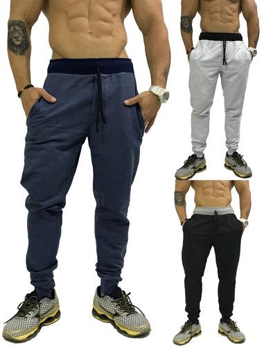 3 calça moletom masculina abrigo swag slim fit moleton bolso