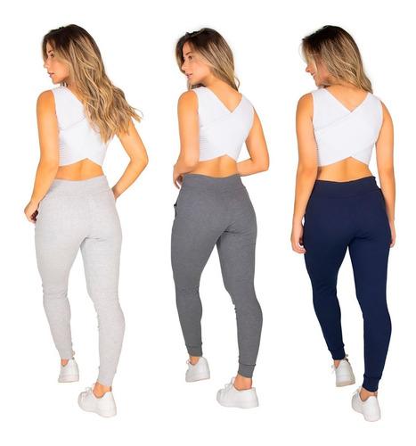 3 calça ribana moletom moda feminina cintura alta 9484