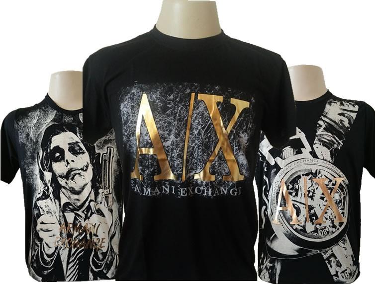 ab80ac977b94f 3 Camisa Camiseta Armani Exchange Lançamento Brilho Dourado - R  139 ...