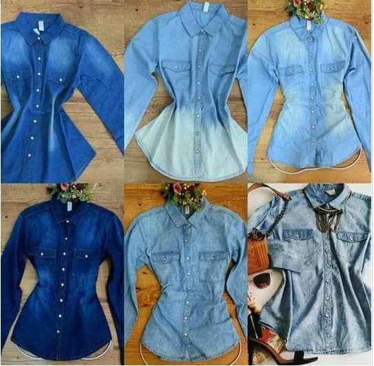 3ef52be41e 3 Camisa Jeans Feminina Pronta Entrega - R  190