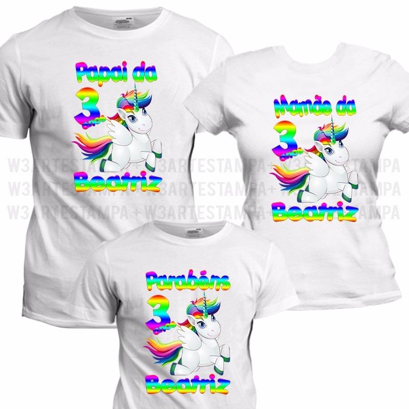3 camisas unicornio festa aniversario camiseta personalizada. Carregando  zoom. dd46e8e4f768a