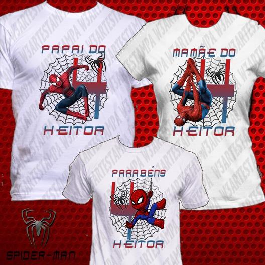 3 Camisetas Kit Aniversário Homem Aranha Camisa Personalizad - R ... 36876f840f26f
