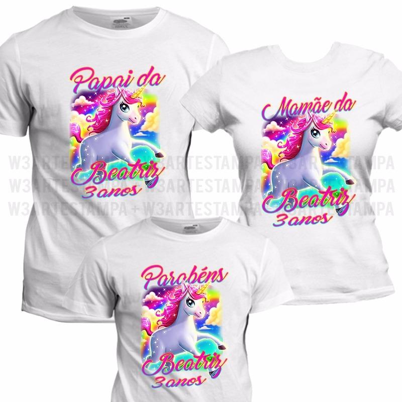 8386d2098e475 3 camisetas kit aniversário unicórnio camisa festa infantil. Carregando  zoom.