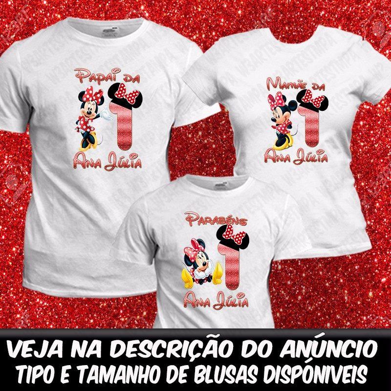 3 camisetas personalizadas disney minnie vermelha camisa. Carregando zoom. d0326ba5f7b01