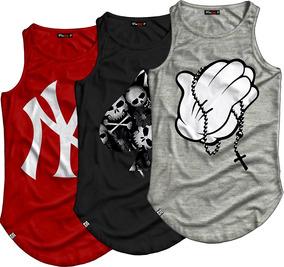de8c5e32f26c12 3 Camisetas Regata Longline Oversized Swag Street Wear Style