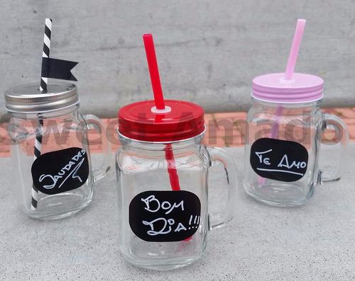 3 caneca mason jar lousa vidro com 3 tampas e 3 canudos