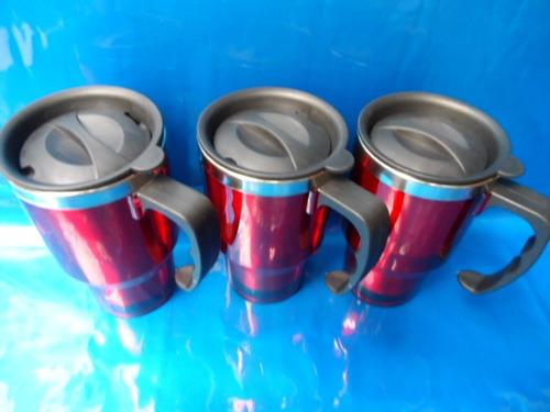 3 caneca térmica inox e acrílico vermelha e tampa 400 ml#118