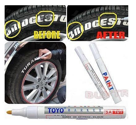 3 caneta permanente a prova d' água paint - marcador pneu