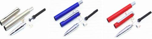 3 canetas tinteiro baoer 801: aço inox, azul e vermelha