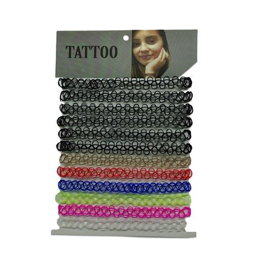 3 cartela colar gargantilha - tattoo choker - várias cores