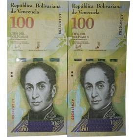 3 Cédulas De 100 Mil Bolívares Fortes Fe.
