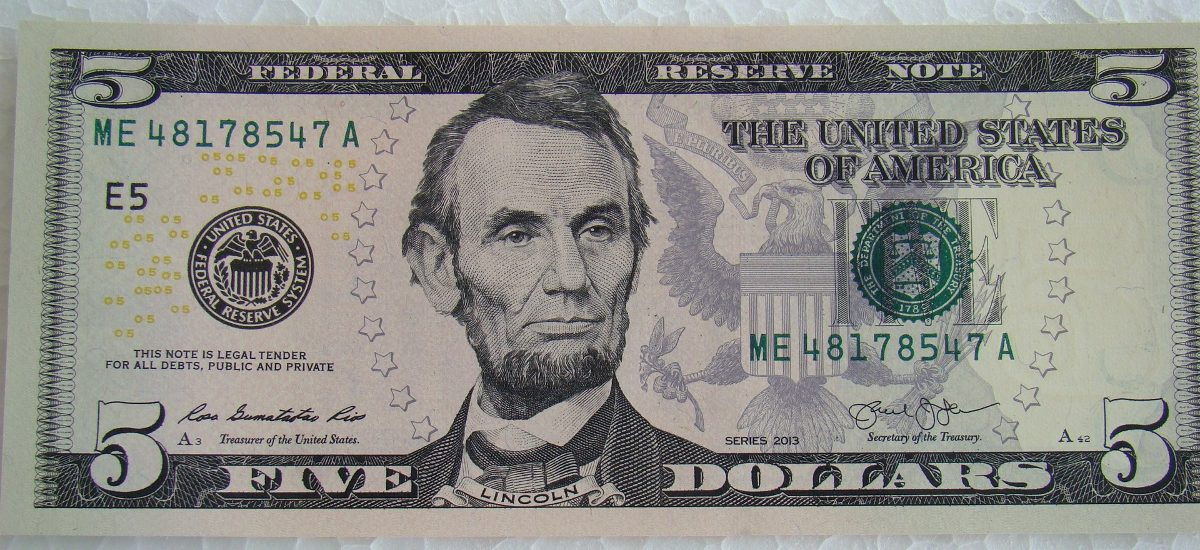 Página 3 De 5: 3 Cédulas Nota Cinco (5) Dólares Americanos Flôr De