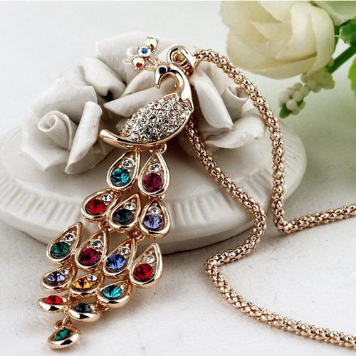 3 colar longo (pavão + medalhão + pérola vermelha) fashion