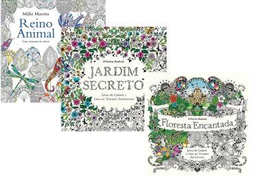3 colorir jardim secreto + floresta encantada + reino animal