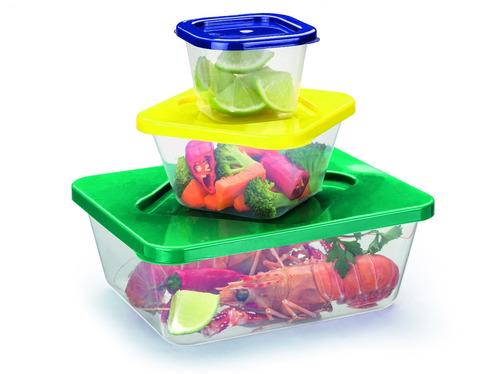 3 conjunto de 3 potes 9 peças p,m,g cozinha utilidade  (fp)