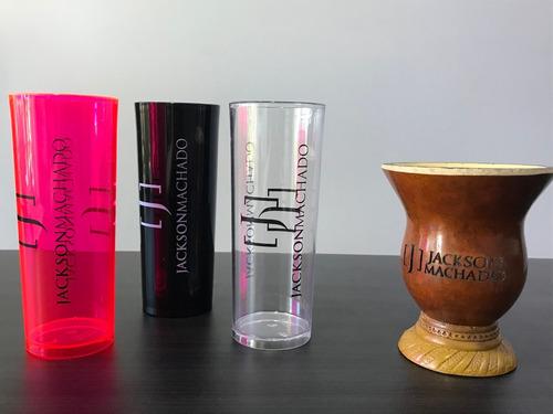 3 copos + cuia jackson machado fã nº 1 rosa, preto e transp.