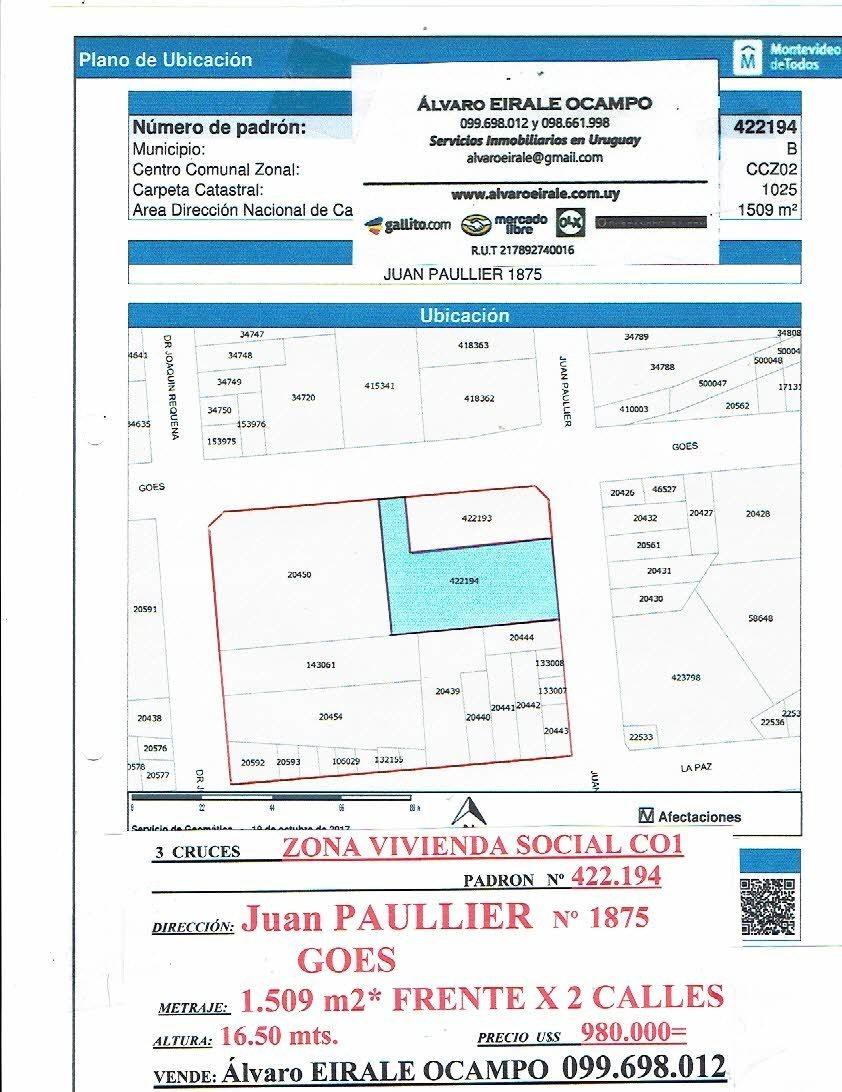 3 cruces:1.500 m2  frente x 2 calles viv. promovida