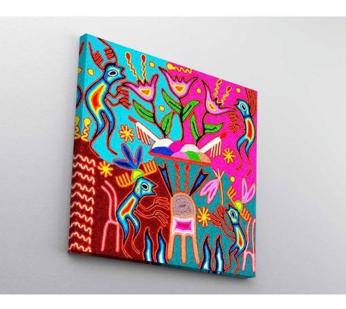 3 cuadros arte huichol mexicano en lienzo canvas decorativo