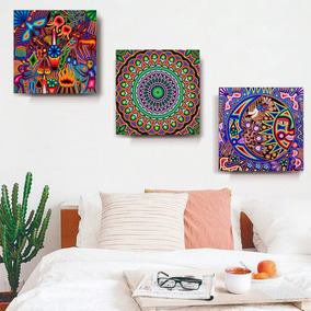 37b13dc75f24 3 Cuadros Arte Huichol Mexicano En Lienzo Canvas Decorativo