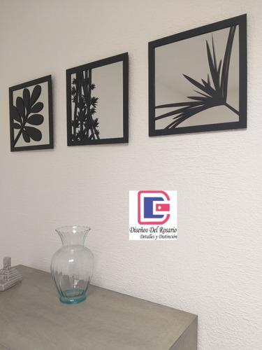 3 cuadros decorativos 30 x 30 espejo y celosía mdf - colores oro o negro + envío