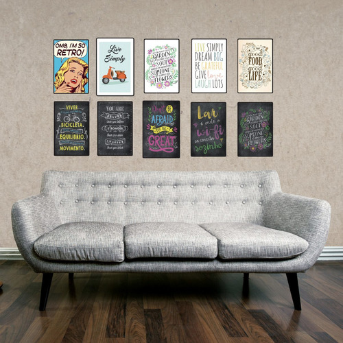 3 cuadros decorativos - chapa de madera (3 uds) 19x29