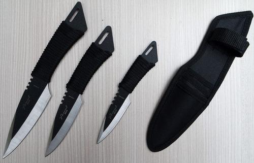 3 cuchillos full tang con funda campismo militar táctico