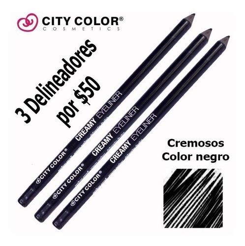 3 delineador para ojos -city color- negro