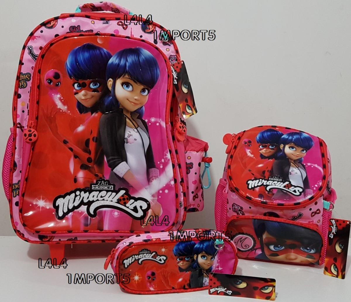 ... mochila escolar infantil rodinhas miraculous ladybug. Carregando zoom. 3e8ff54f0d277