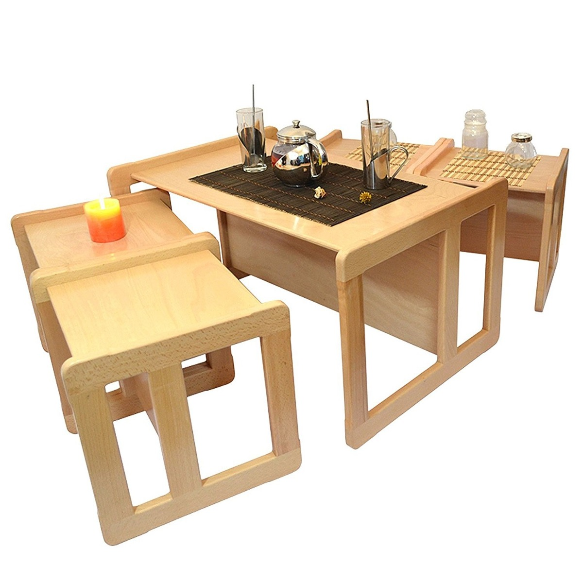 3 en 1 comedor para ni os 4 sillas 1 mesa madera de