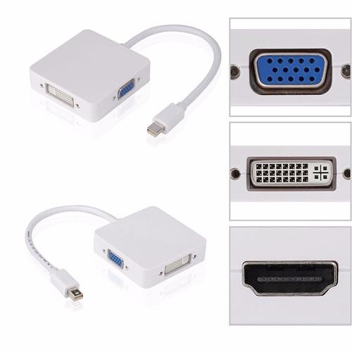 3 en 1 thunderbolt mini display port dp a hdmi dvi vga adapt