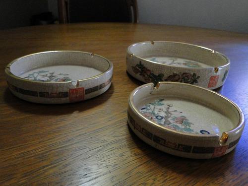 3 enfeites louça chinesa craquelada