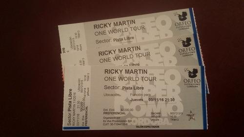 3 entradas concierto ricky martin cordoba one world tour vip