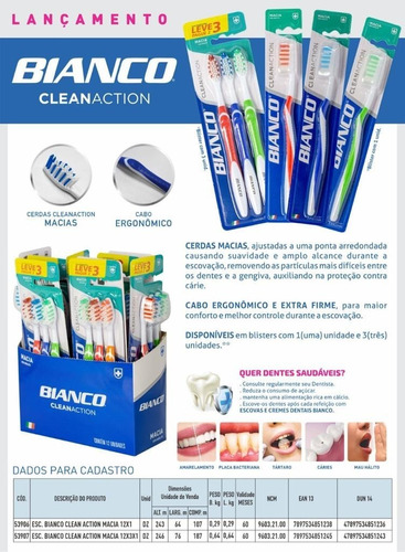 3 escovas de dente bianco clean + creme dental repair