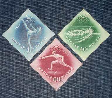 3 estampilla hungría magyar olimpiadas helsinki 1952 deporte