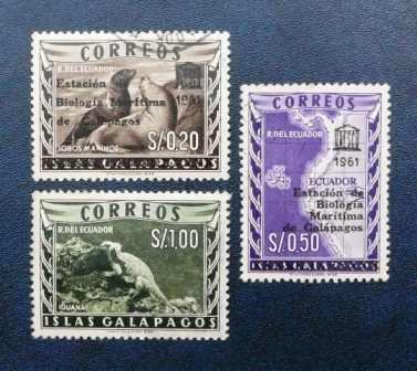 3 estampilla islas galápagos 1961 ecuador lobo marino iguana