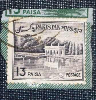 3 estampilla pakistán 13 25 40 paisa antiguas estanques agua