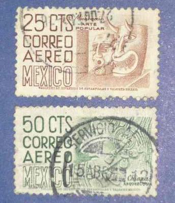 3 estampillas méxico 25 cts michoacán 50 cts chiapas 80c df