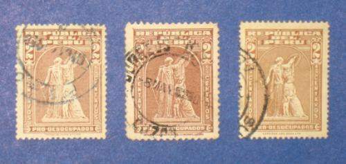 3 estampillas pro desocupados 2 centavos 1938 1951 1962 perú