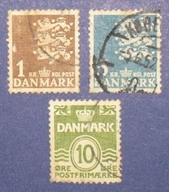 3 estampillas stamps dinamarca danmark 1 5 kr 10 ore antigua