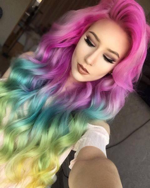 Rainbow ombre hair