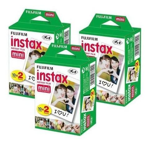 3 filmes instax mini com 20 fotos cada - 60 fotos total-fuji