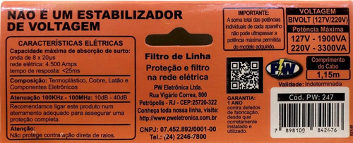 3 filtro de linha 20a biv. protetor cabo certificado inmetro