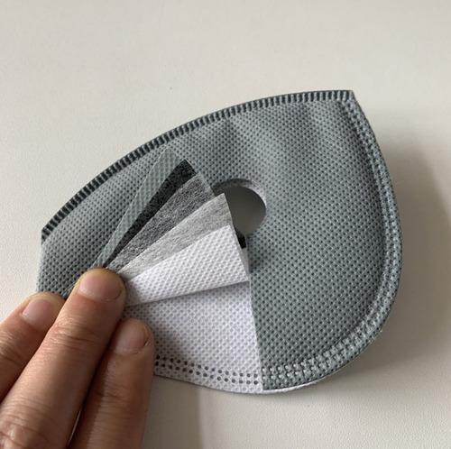 3 filtros carbón activo 5 capas kn95 pm2.5 máscara sport