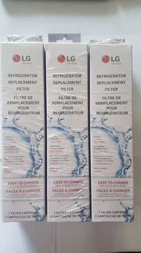 3 filtros refrigerador lg original caja adq73613401 lt800p