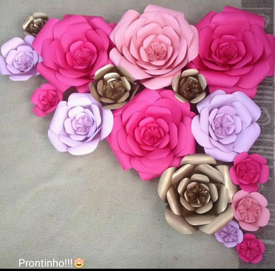3 Flores Gigante Papel 30cmx30cm Decoraçao Festa Casamento R$ 59,94 em Mercado Livre