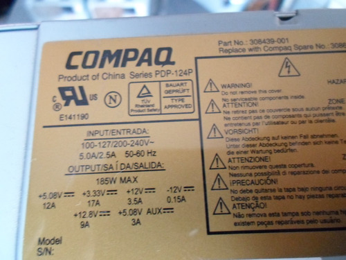 3 fontes compaq modelo pdp 124 p - 185 wats com sata