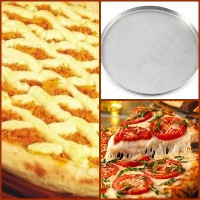 3 formas de pizza 45cm em alumínio +  3 telas de pizza 45cm